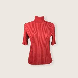 Jones New York Rust Red Short Sleeve Turtleneck L